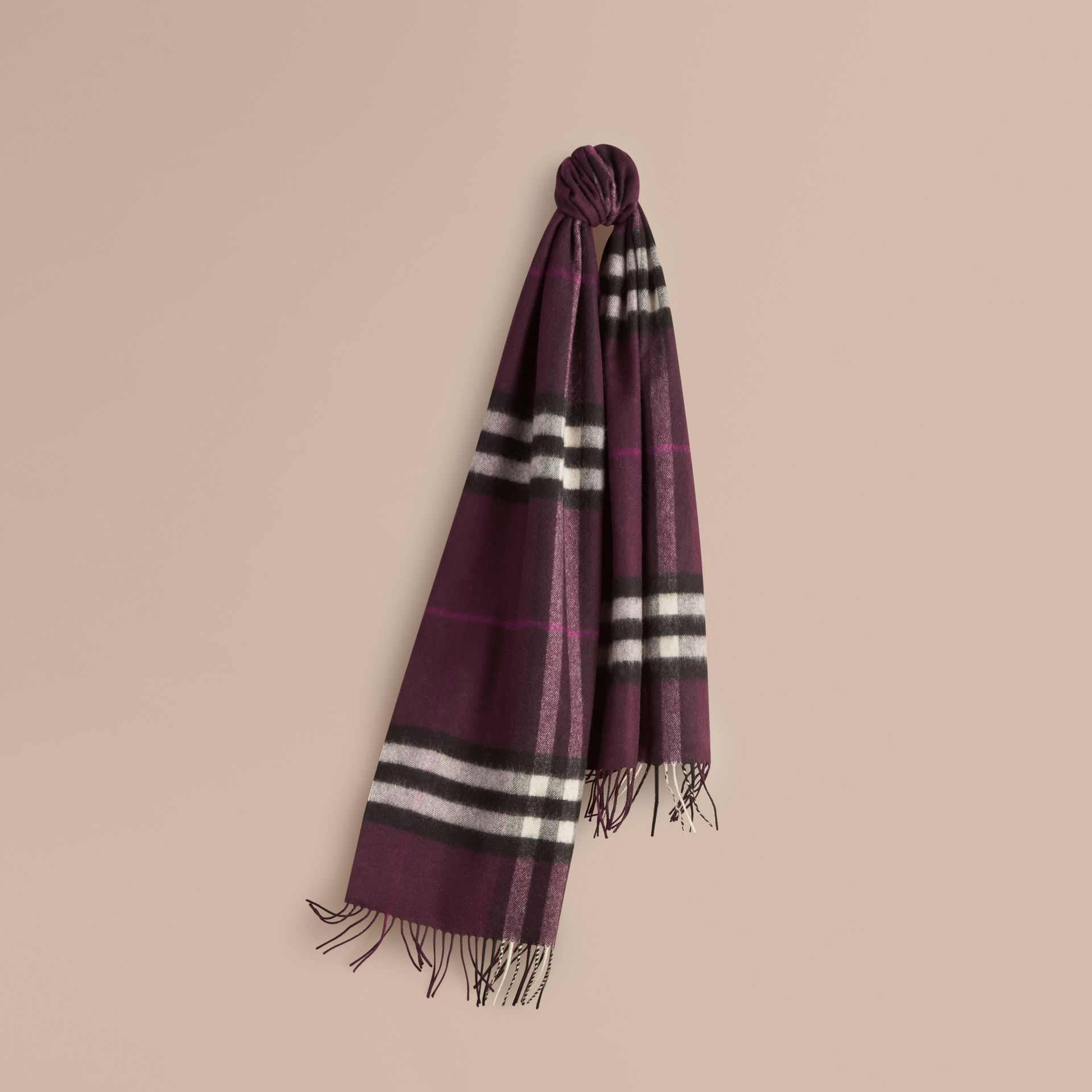 The Classic Cashmere Scarf in Check in Aubergine - gallery image 6