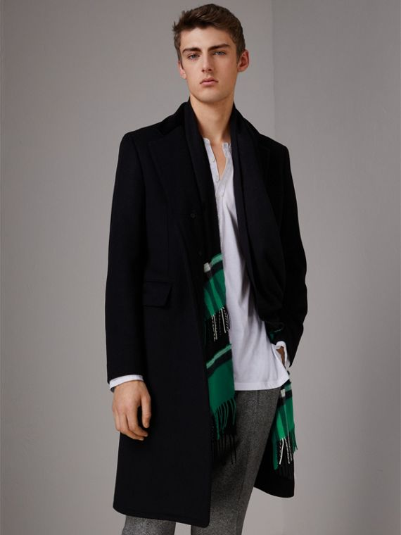 Tartan Panel Detail Cashmere Scarf in Black | Burberry Australia - cell image 3