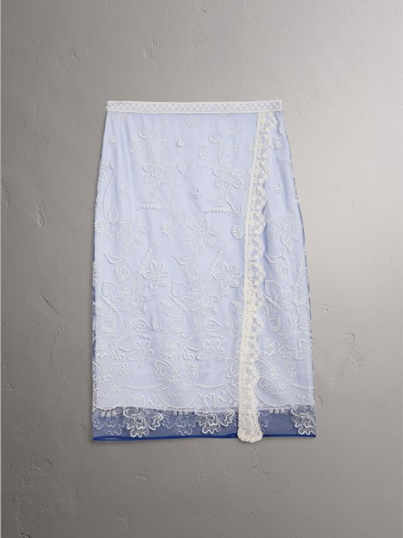 Floral-embroidered Tulle Skirt in Hydrangea Blue/white - Women | Burberry - cell image 3