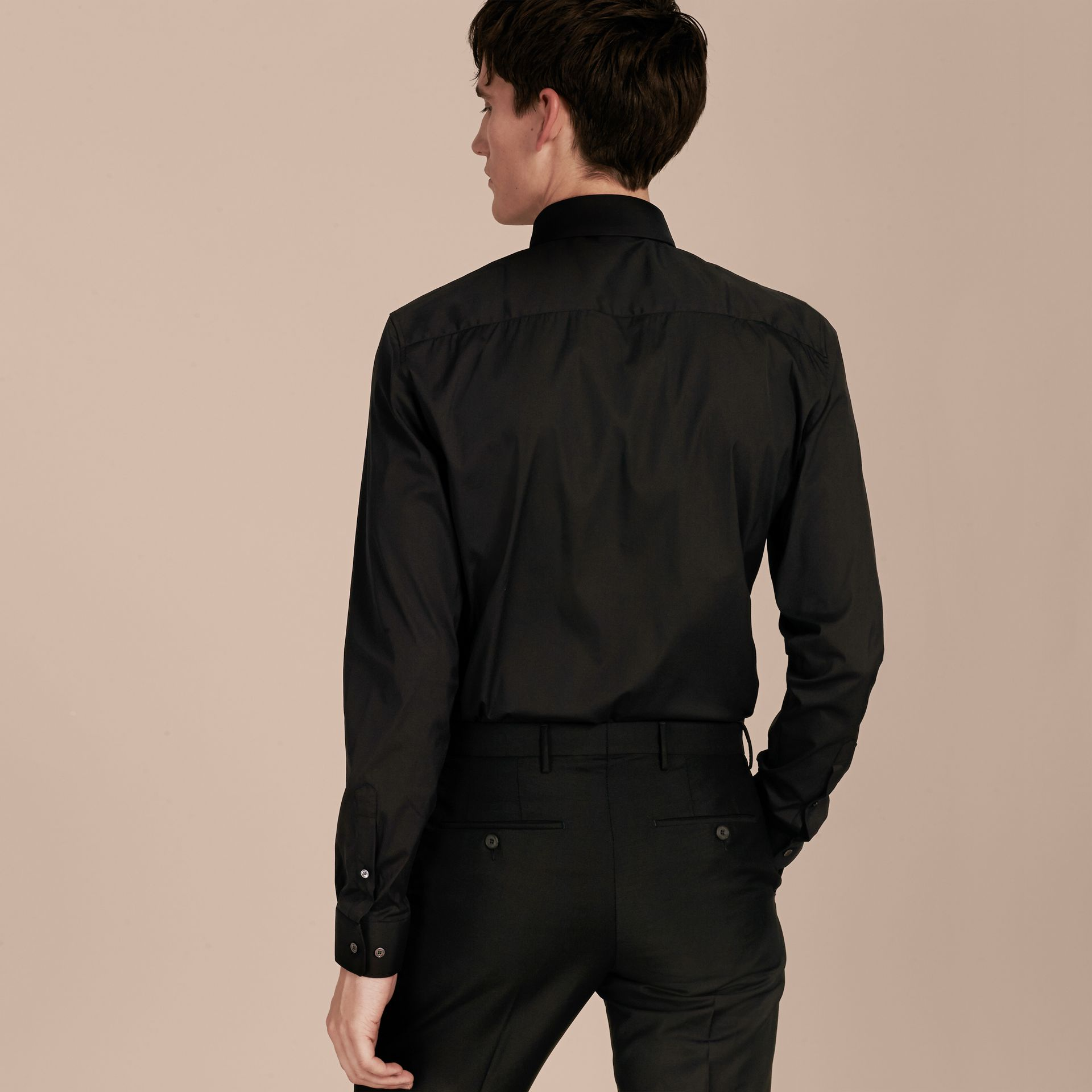 Slim Fit Stretch Cotton Shirt in Black - Men | Burberry Hong Kong - gallery image 3