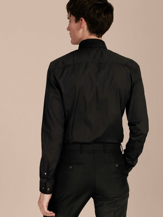 Slim Fit Stretch Cotton Shirt in Black - Men | Burberry Hong Kong - cell image 2