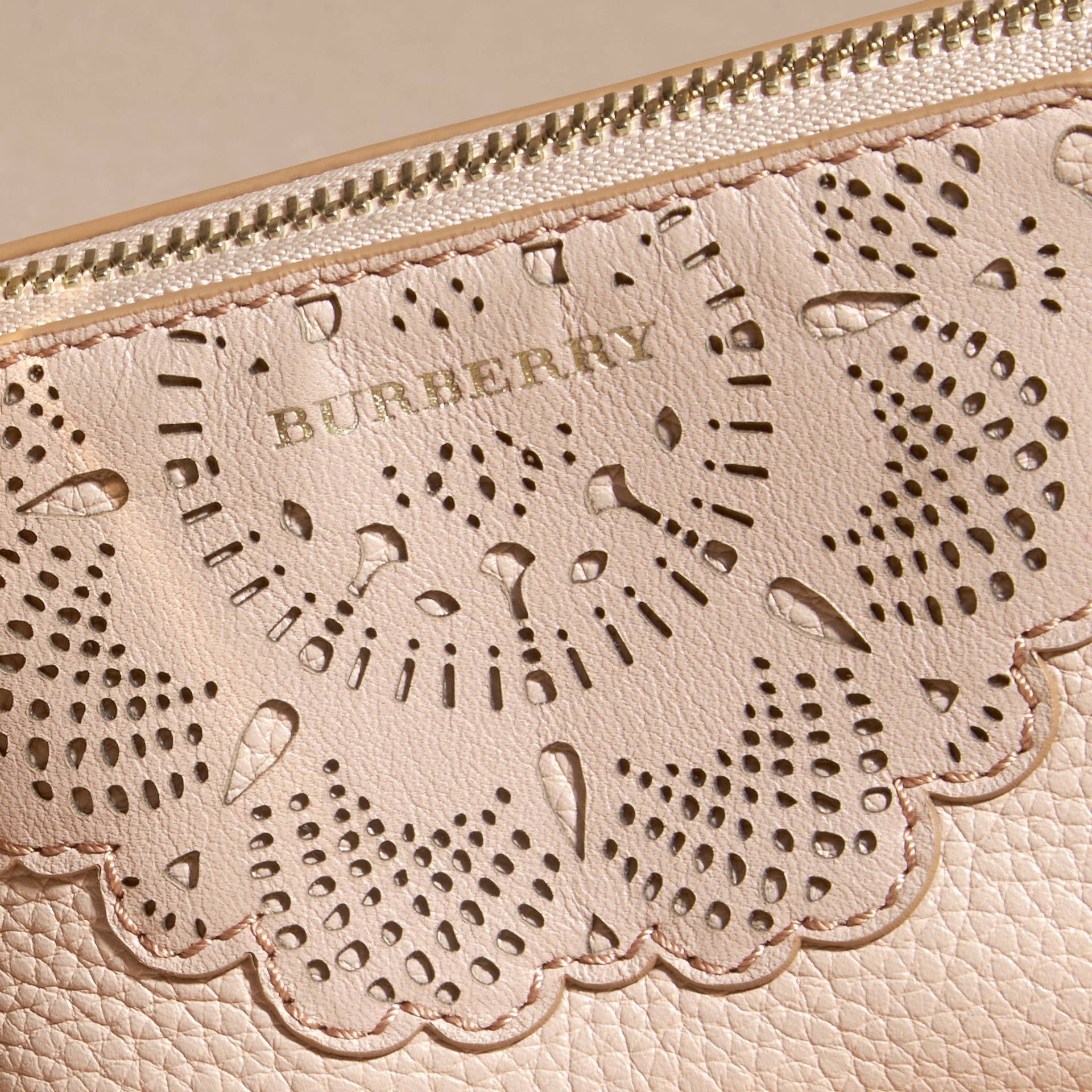 Pale apricot Laser-cut Lace Leather Coin Case - gallery image 2