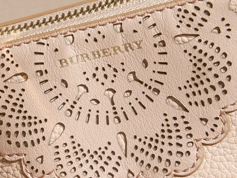 Pale apricot Laser-cut Lace Leather Coin Case - cell image 1