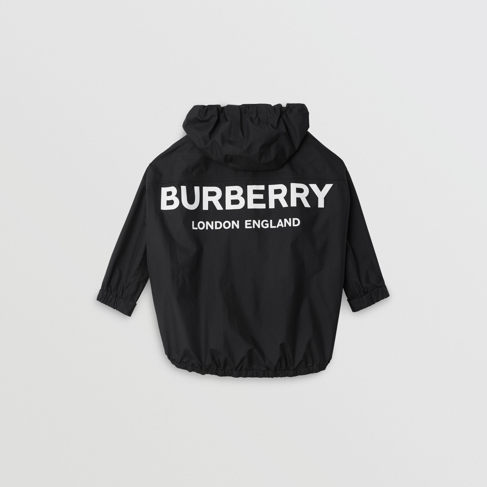 Logo Print Nylon Hooded Jacket in Black | Burberry - gallery image 4