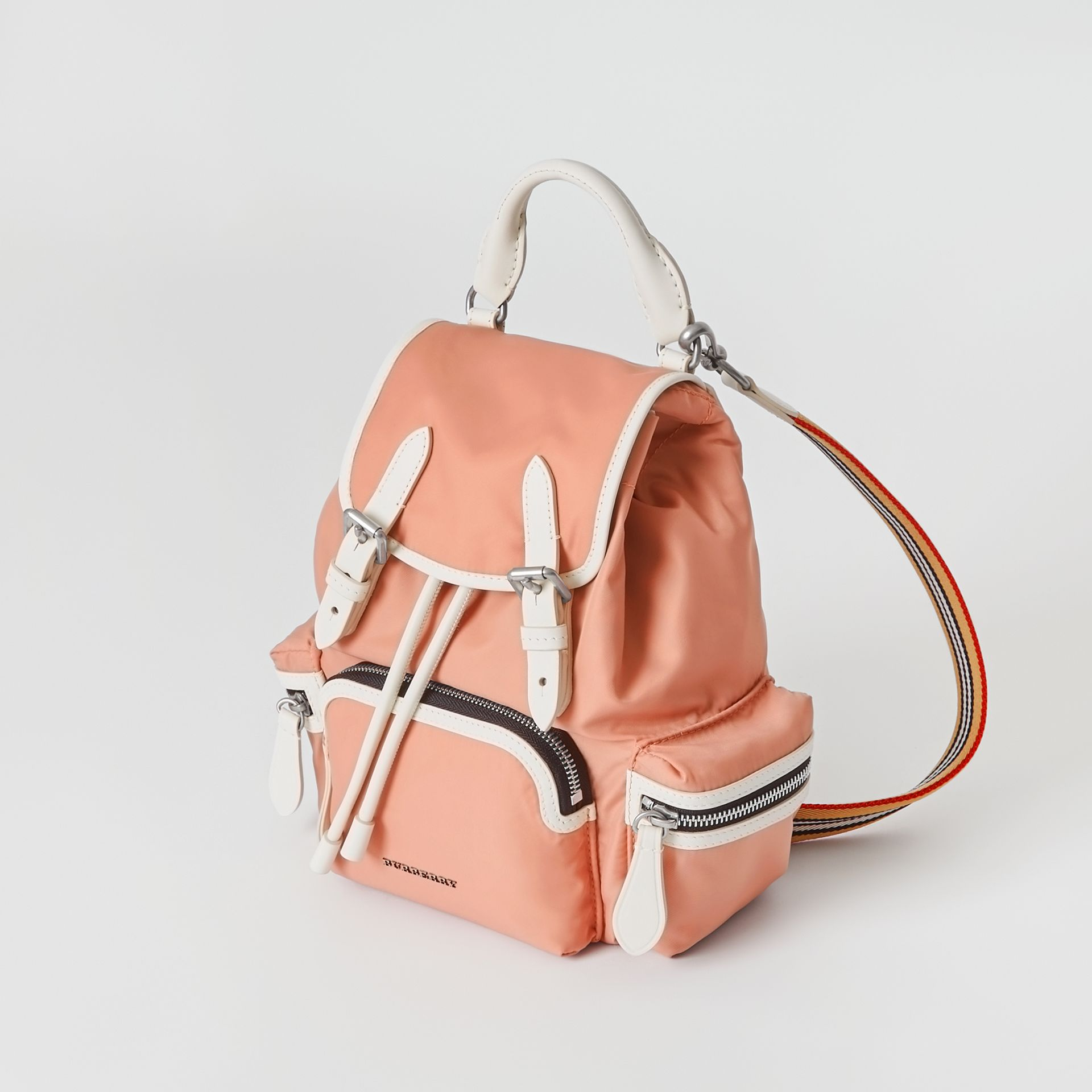 The Small Crossbody Rucksack in Nylon in Powder Pink - Women | Burberry United Kingdom - gallery image 4