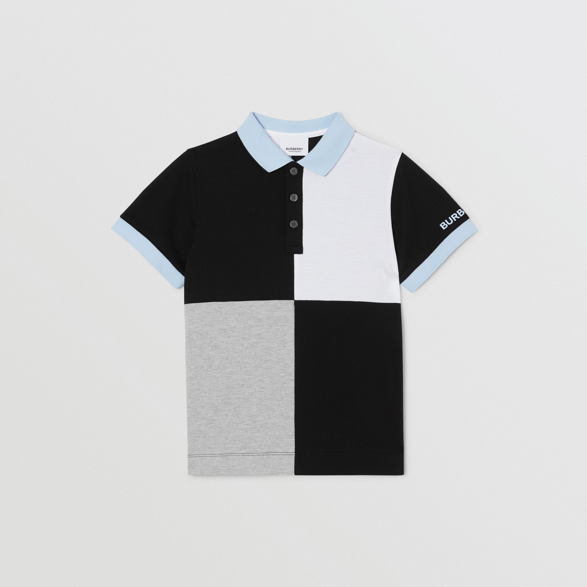 Colour Block Knit Cotton Polo Shirt in Grey Melange | Burberry - gallery image 0