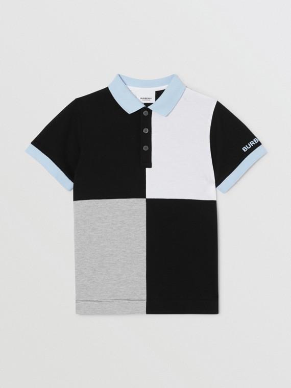 カラーブロック ニットコットン ポロシャツ (グレーメランジ)