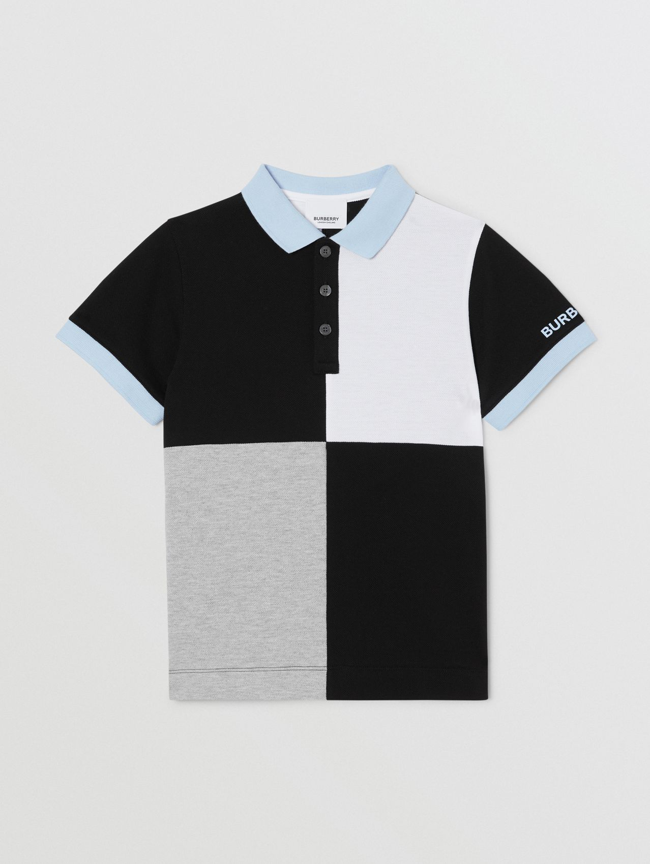 Colour Block Knit Cotton Polo Shirt in Grey Melange