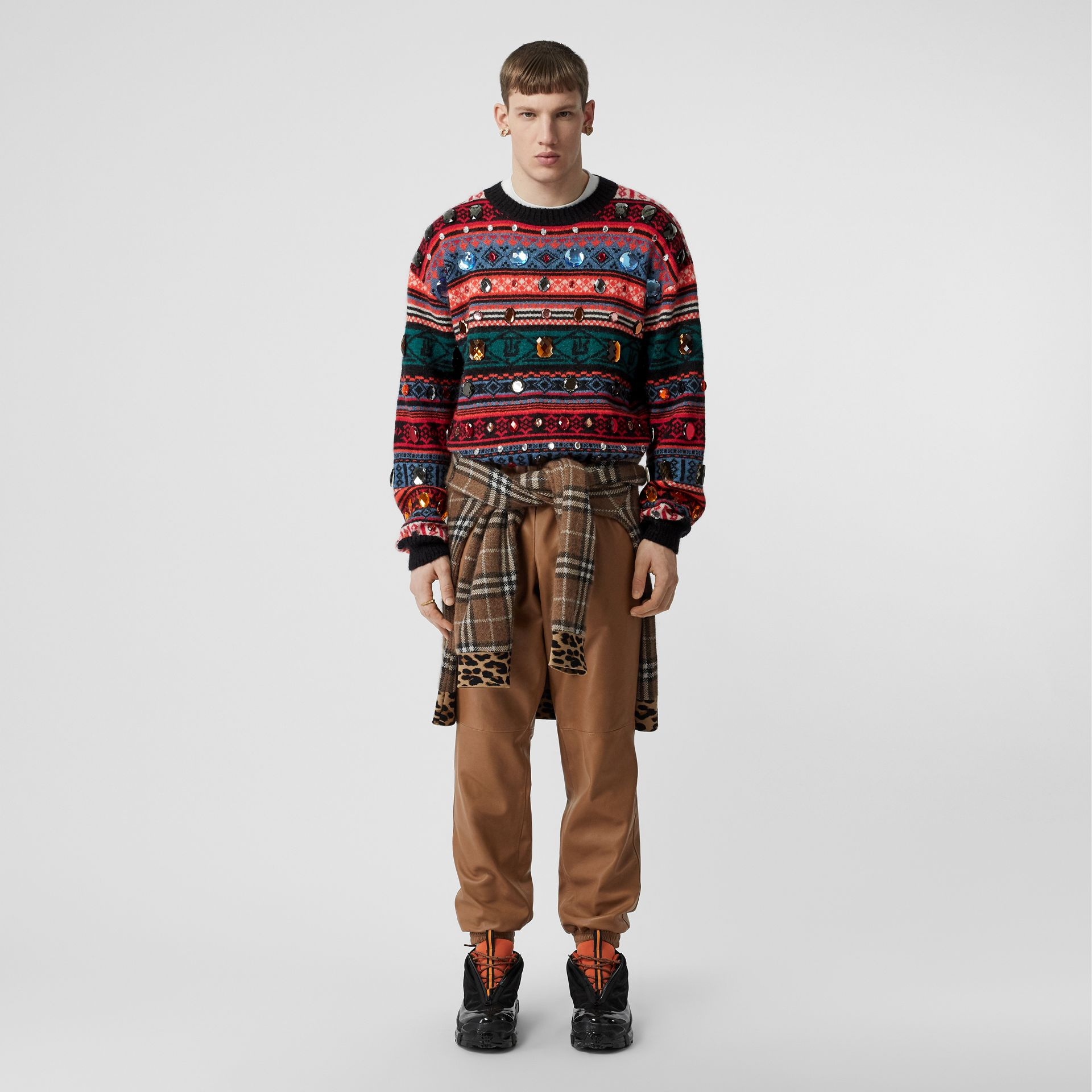 Embellished Fair Isle Mohair Wool Blend Sweater in Bright Orange - Men | Burberry Australia - gallery image 0