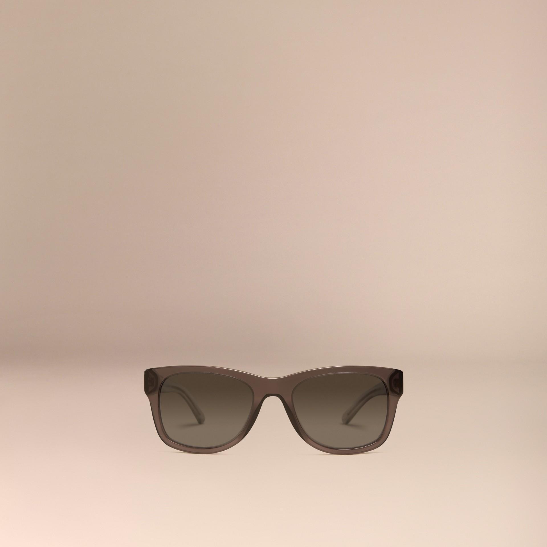 Grigio scuro Occhiali da sole con montatura quadrata e dettaglio check Grigio Scuro - immagine della galleria 3