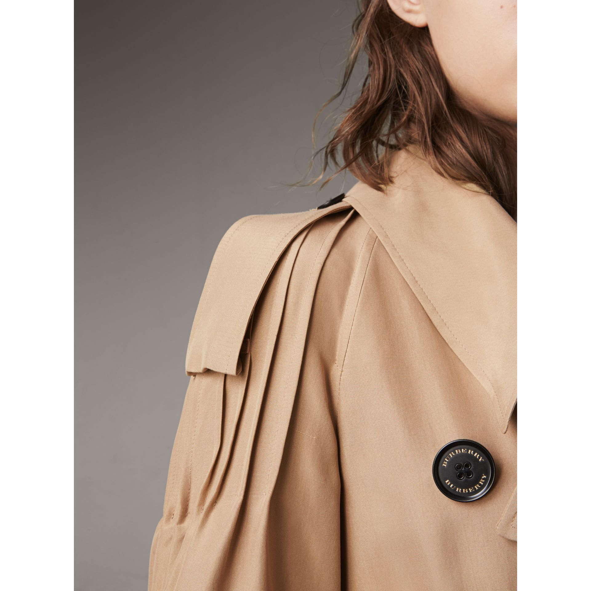 Ruffle Detail Silk Trench Coat in Honey - Women | Burberry - gallery image 2