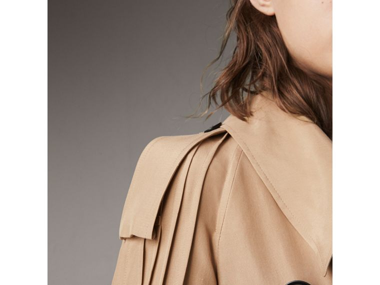 Ruffle Detail Silk Trench Coat in Honey - Women | Burberry - cell image 1