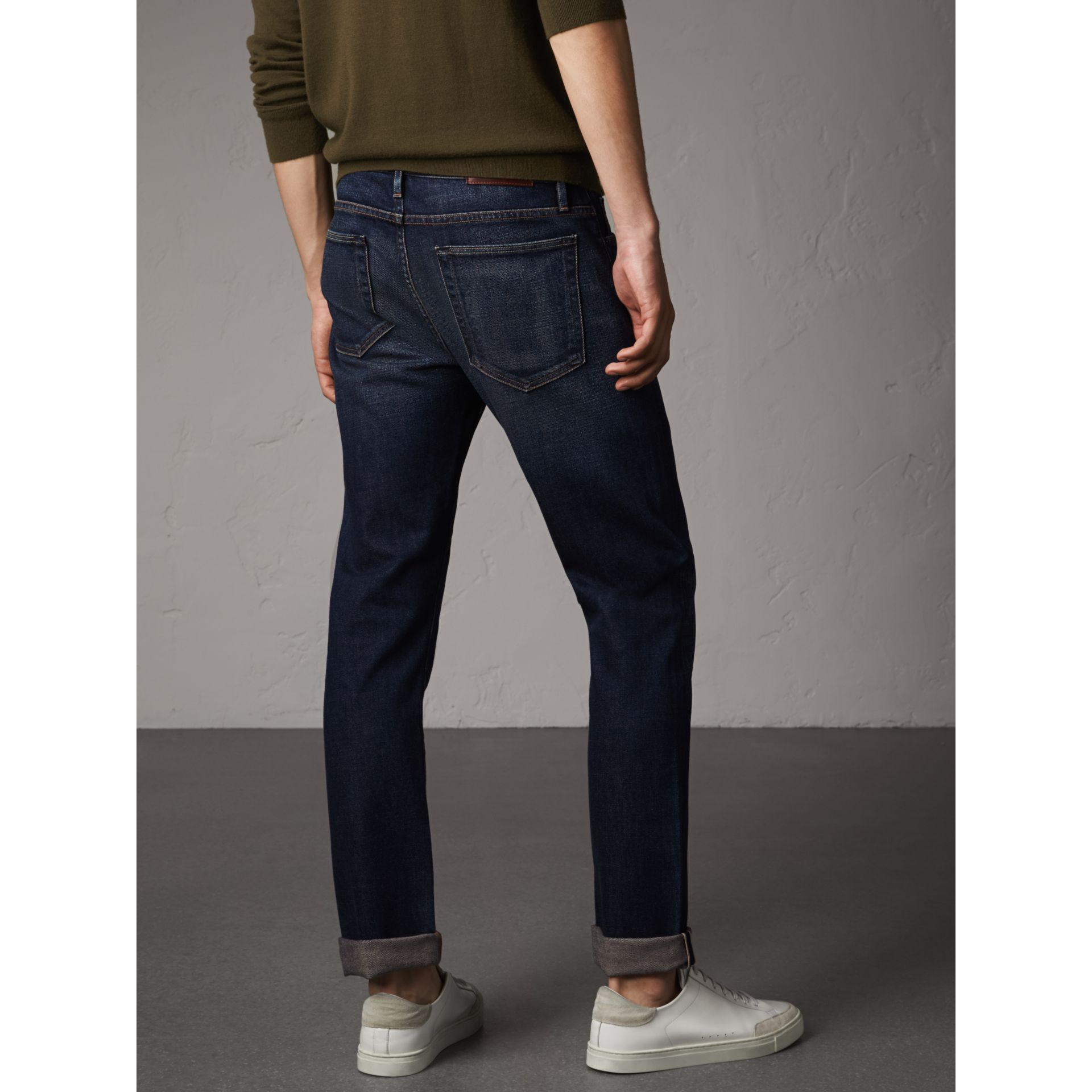 Straight Fit Brushed Denim Jeans in Vintage Blue - Men | Burberry - gallery image 3