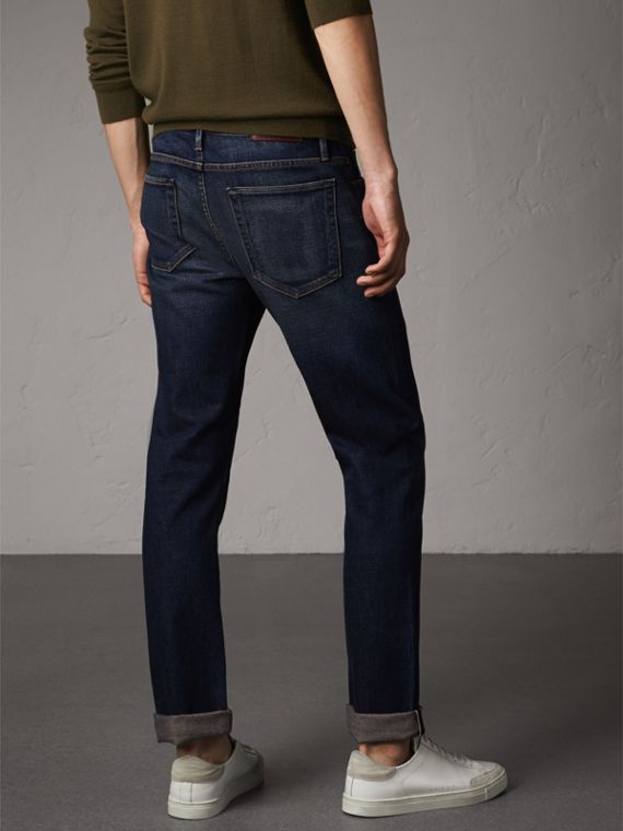 Straight Fit Brushed Denim Jeans in Vintage Blue - Men | Burberry - cell image 2