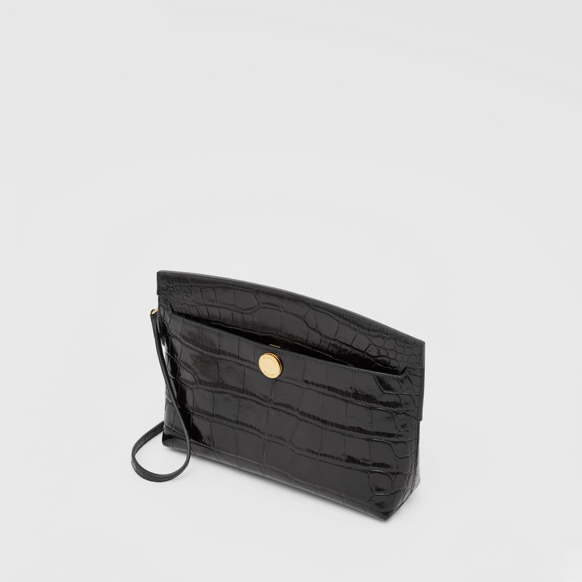 Embossed Leather Society Clutch in Black - Women | Burberry - gallery image 3