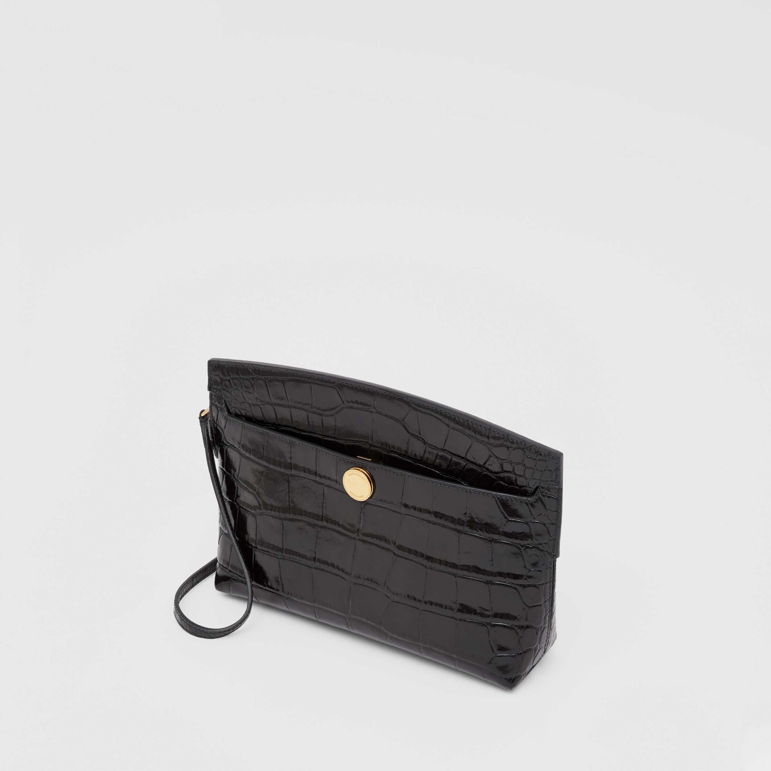 Embossed Leather Society Clutch in Black - Women | Burberry - 4
