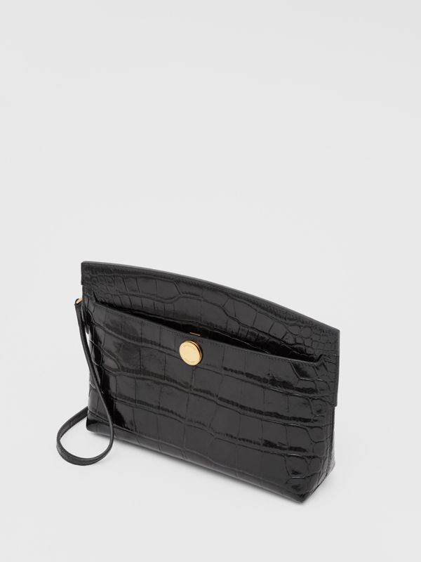Embossed Leather Society Clutch in Black - Women | Burberry - cell image 3
