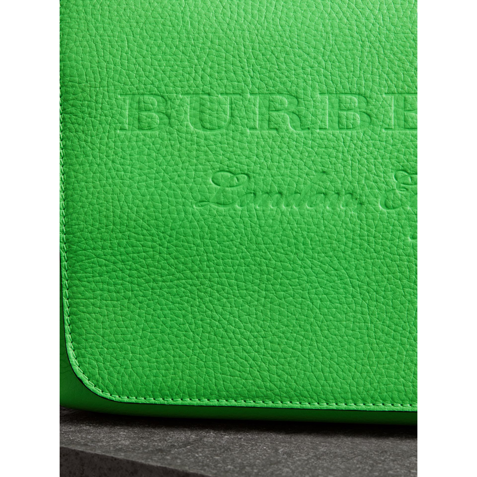 Medium Embossed Leather Messenger Bag in Neon Green | Burberry - gallery image 1