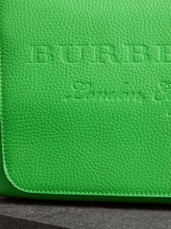 Medium Embossed Leather Messenger Bag in Neon Green | Burberry - cell image 1