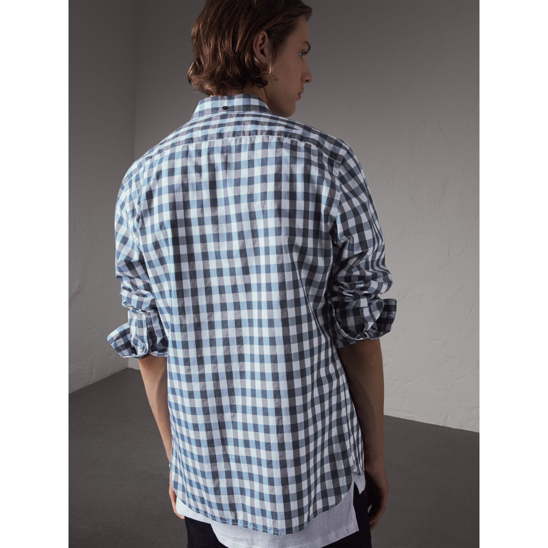 Button-down Collar Gingham Cotton Shirt in Mineral Blue - Men | Burberry Singapore - gallery image 3