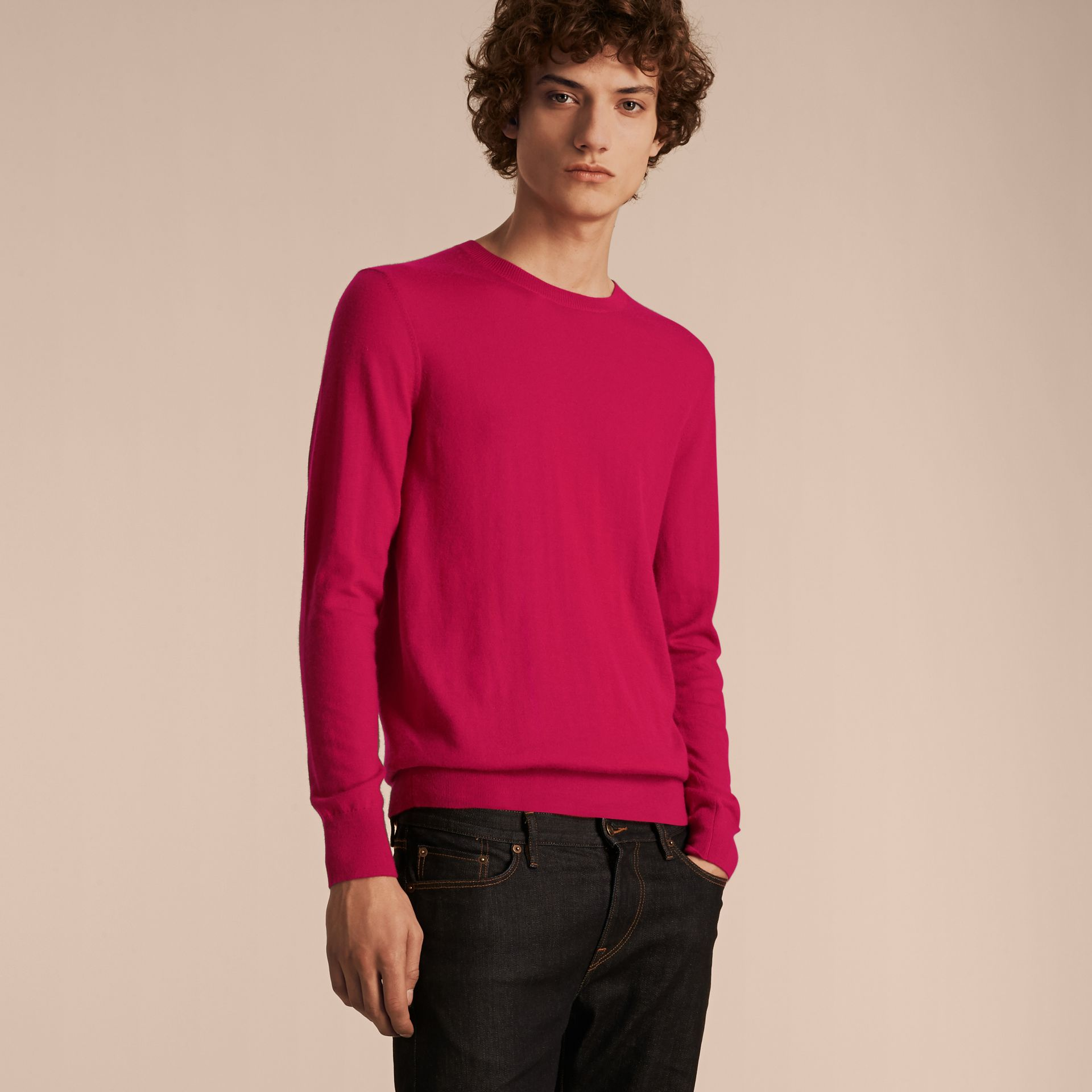 Bright pink Lightweight Crew Neck Cashmere Sweater with Check Trim Bright Pink - gallery image 6