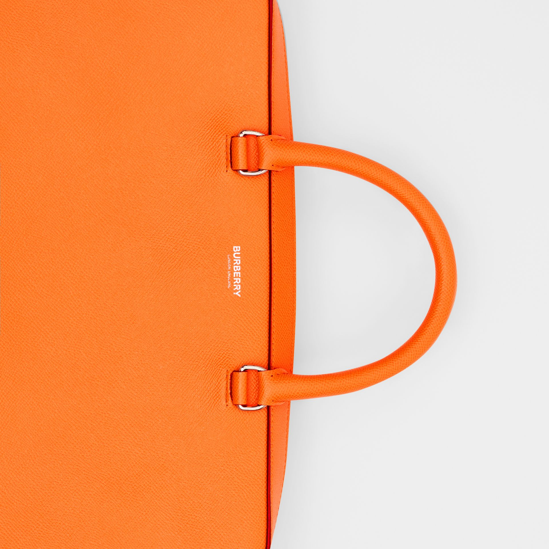 Grainy Leather Briefcase in Bright Orange - Men | Burberry - gallery image 1