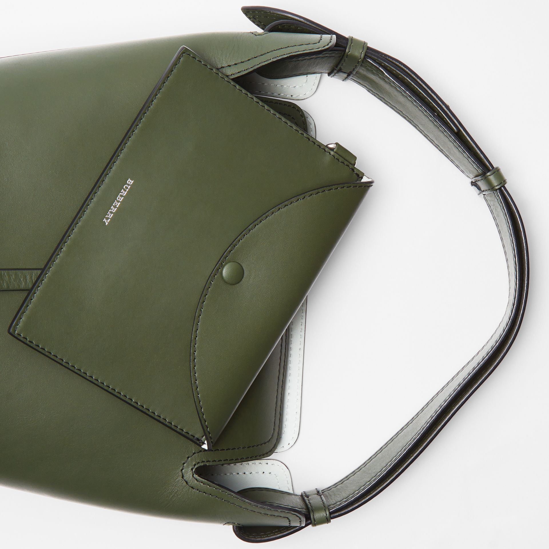 The Small Leather Bucket Bag in Dark Olive - Women | Burberry - gallery image 1