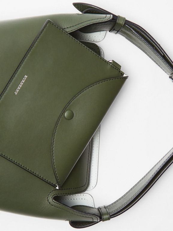 The Small Leather Bucket Bag in Dark Olive - Women | Burberry - cell image 1