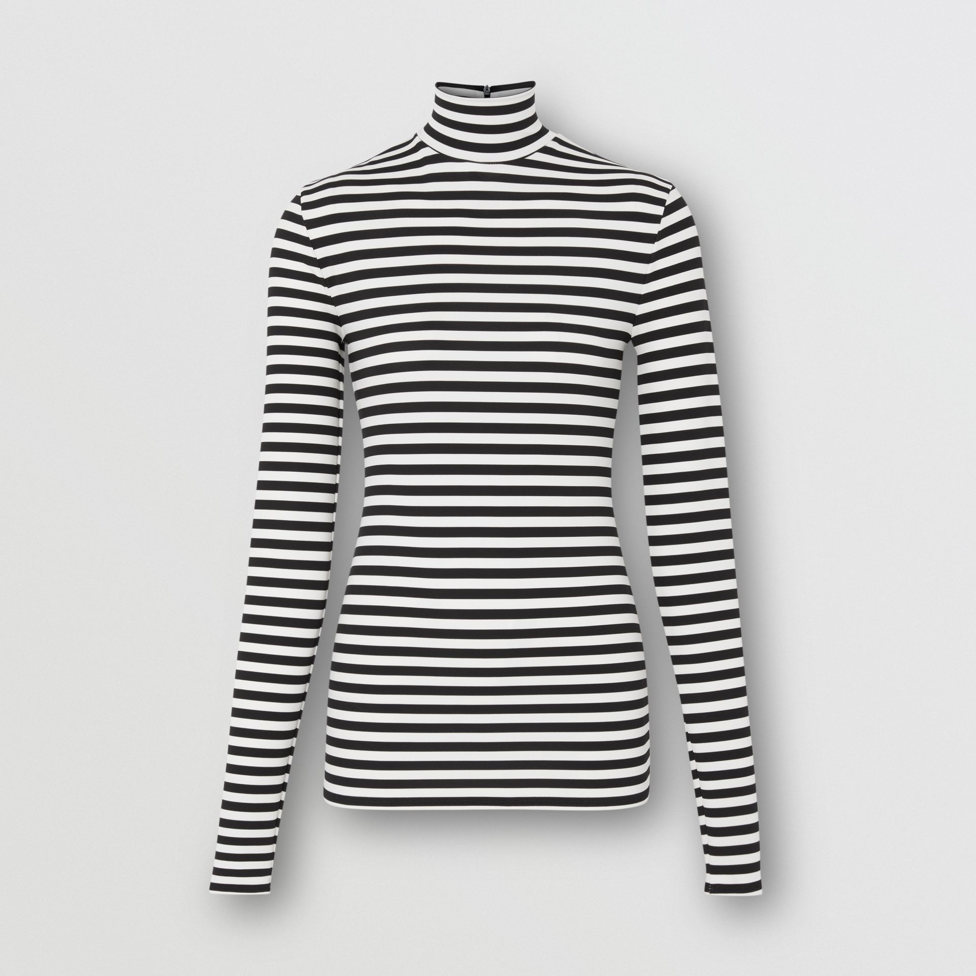 Striped Stretch Jersey Turtleneck Top in Black/white - Women | Burberry - gallery image 3