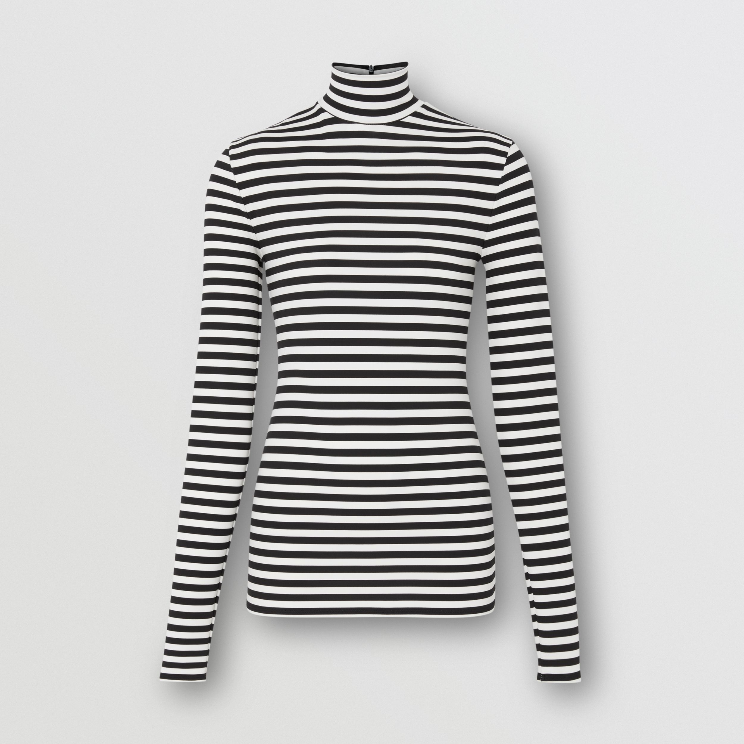 Striped Stretch Jersey Turtleneck Top in Black/white - Women | Burberry - 4