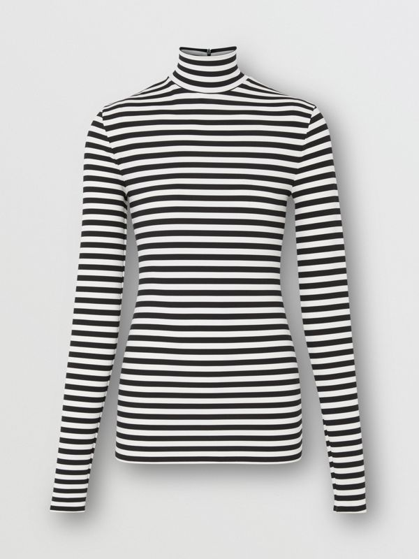 Striped Stretch Jersey Turtleneck Top in Black/white - Women | Burberry - cell image 3
