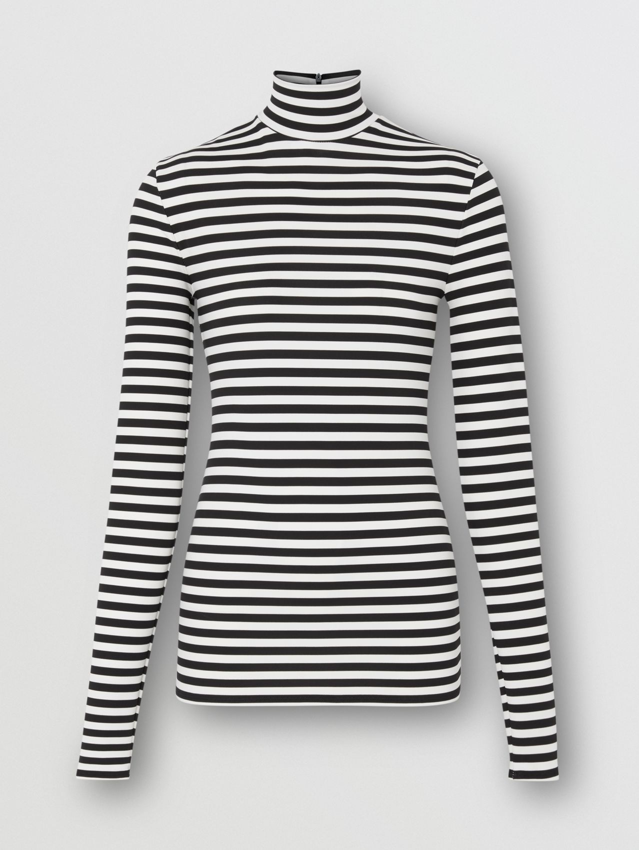 Striped Stretch Jersey Turtleneck Top in Black/white