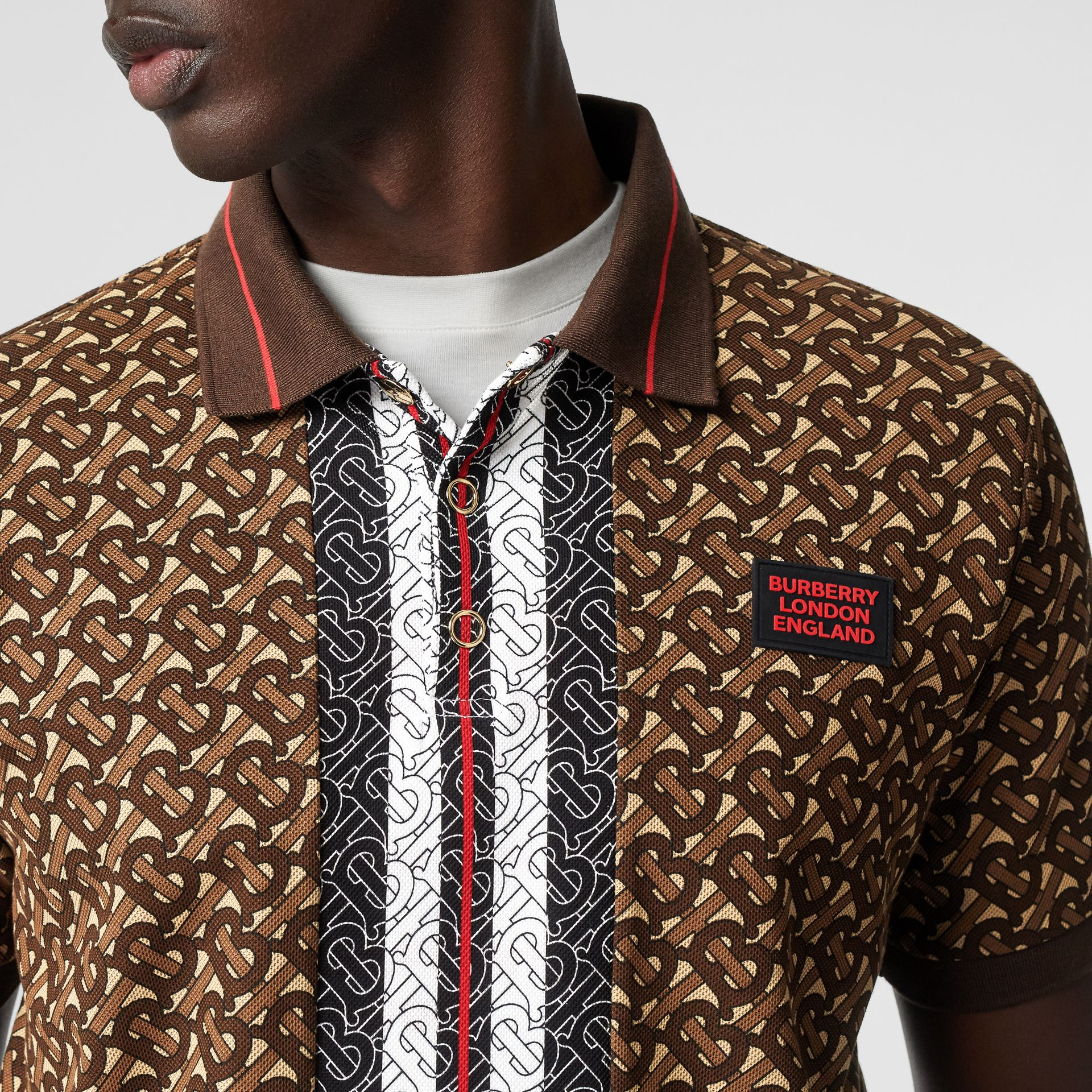 Monogram Stripe Print Cotton Piqué Polo Shirt in Bridle Brown - Men | Burberry - gallery image 4
