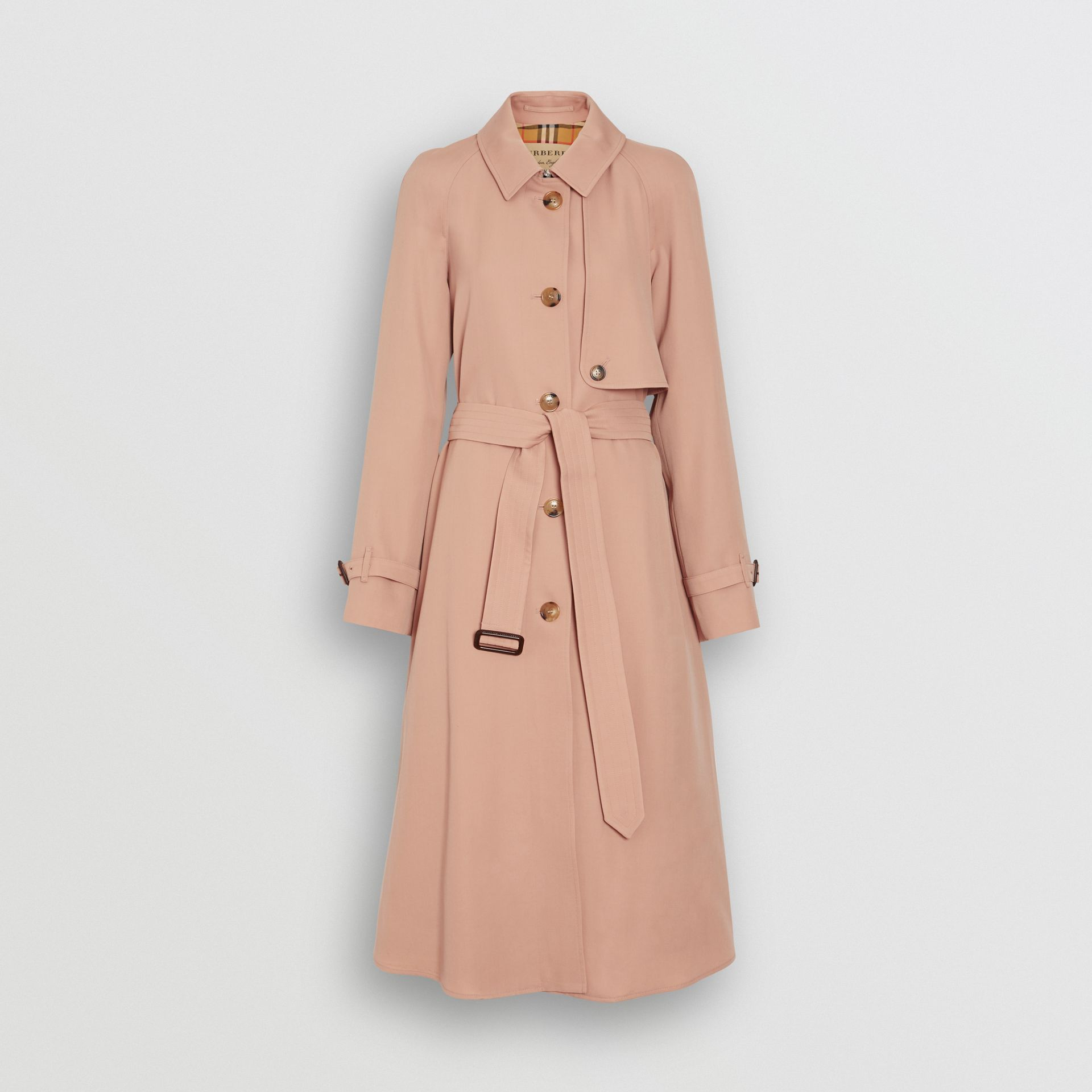 Wool Gabardine Trench Coat in Blush Pink - Women | Burberry - gallery image 3