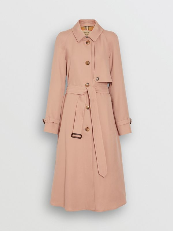 Wool Gabardine Trench Coat in Blush Pink - Women | Burberry - cell image 3