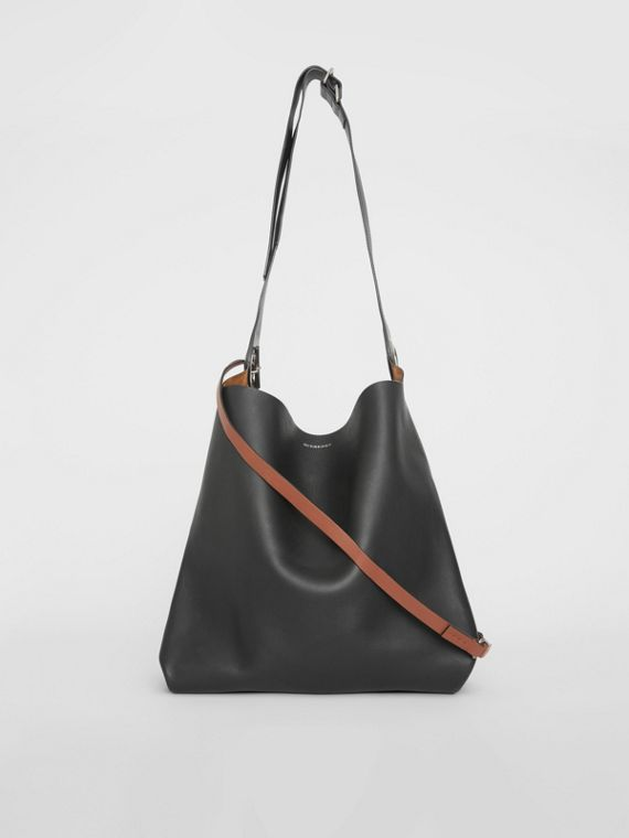 The Leather Grommet Detail Bag in Black