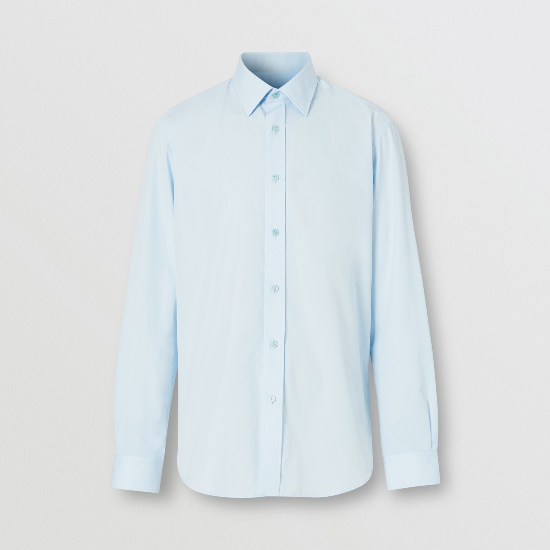 Classic Fit Monogram Motif Cotton Poplin Shirt in Pale Blue - Men | Burberry - gallery image 3