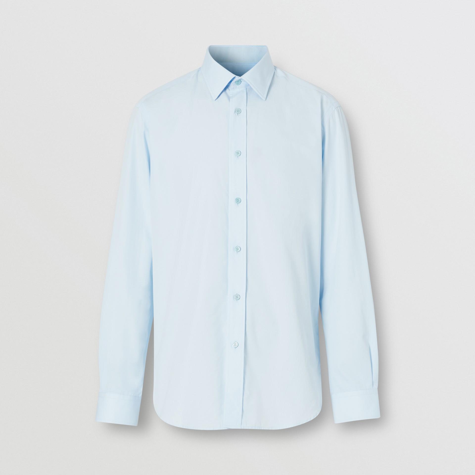 Classic Fit Monogram Motif Cotton Poplin Shirt in Pale Blue - Men | Burberry Singapore - gallery image 3