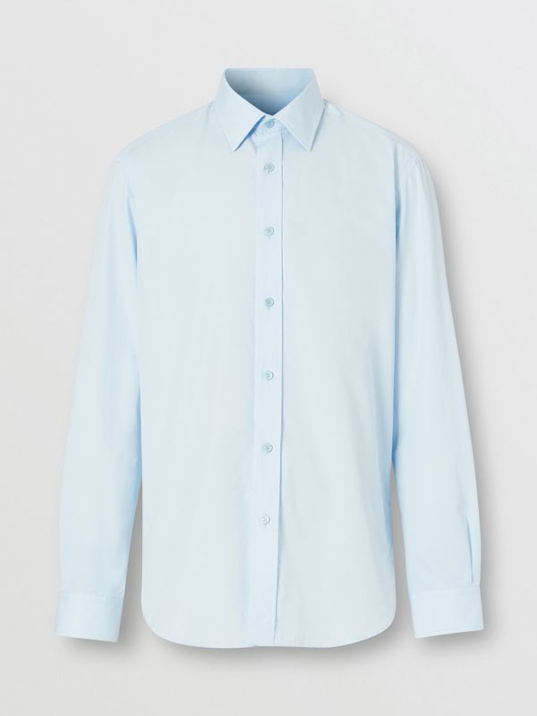 Classic Fit Monogram Motif Cotton Poplin Shirt in Pale Blue - Men | Burberry Singapore - cell image 3
