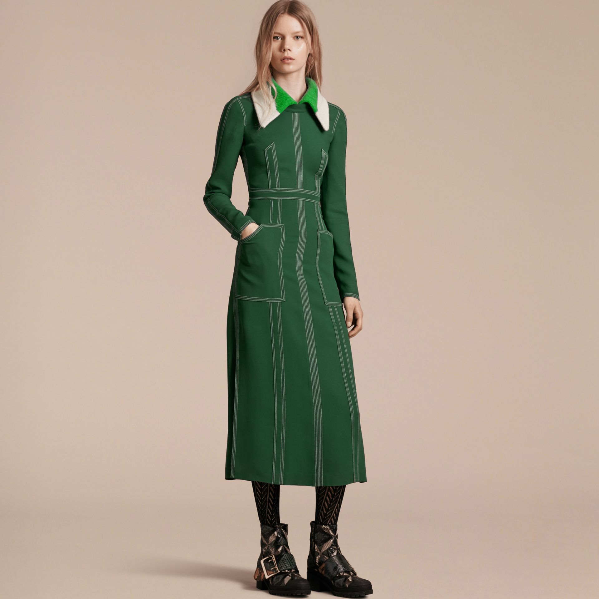 Deep green Topstitch Detail Georgette Dress with Knitted Collar - gallery image 7
