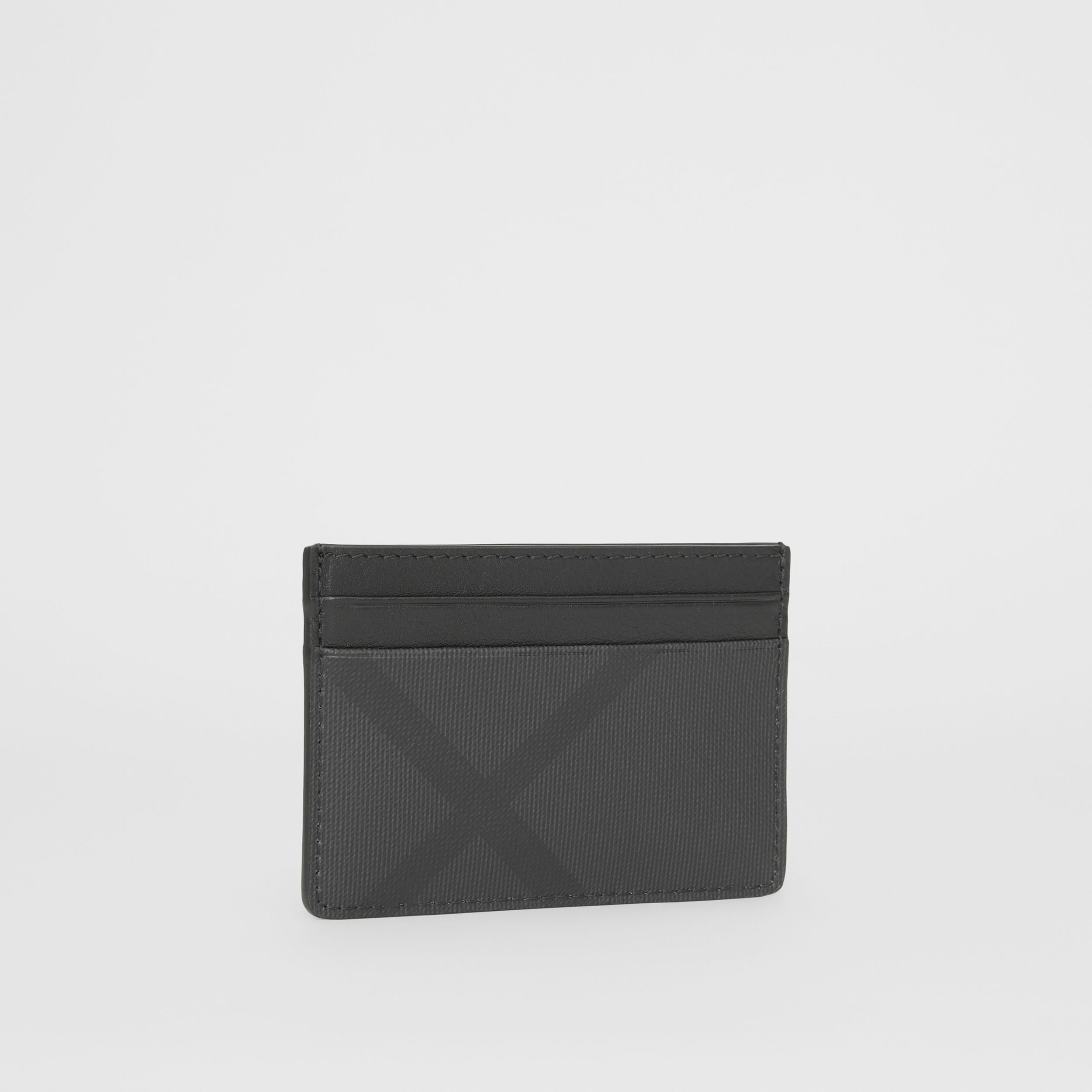 London Check and Leather Card Case in Dark Charcoal - Men | Burberry - 4