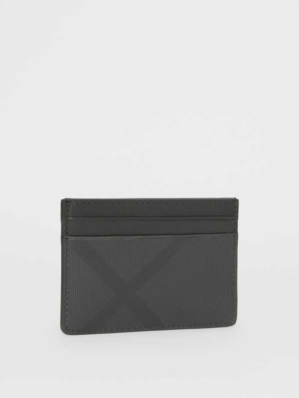 London Check and Leather Card Case in Dark Charcoal - Men | Burberry - cell image 3