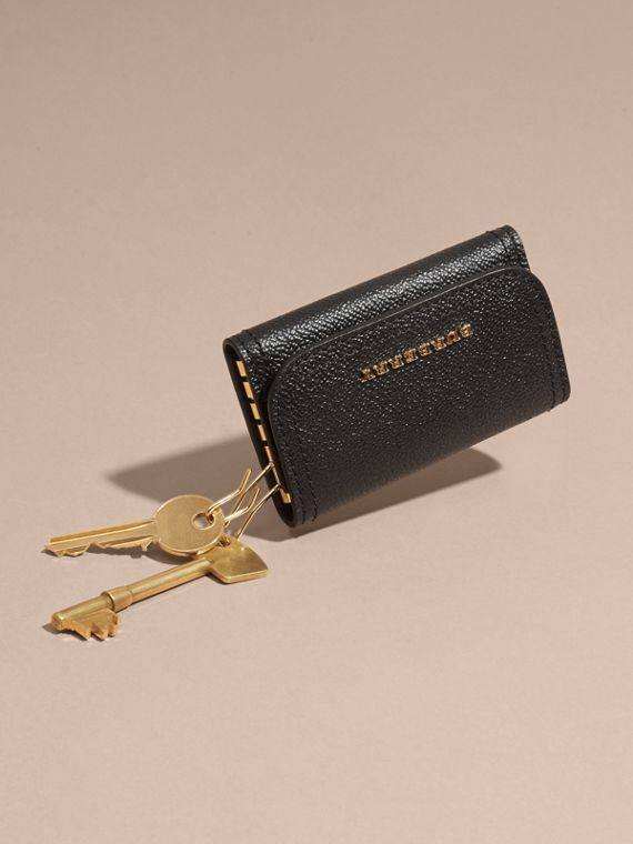 Grainy Leather Key Holder in Black - Women | Burberry - cell image 2