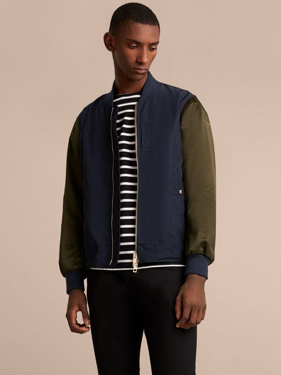 Two-tone Shape-memory Taffeta Bomber Jacket in Ink
