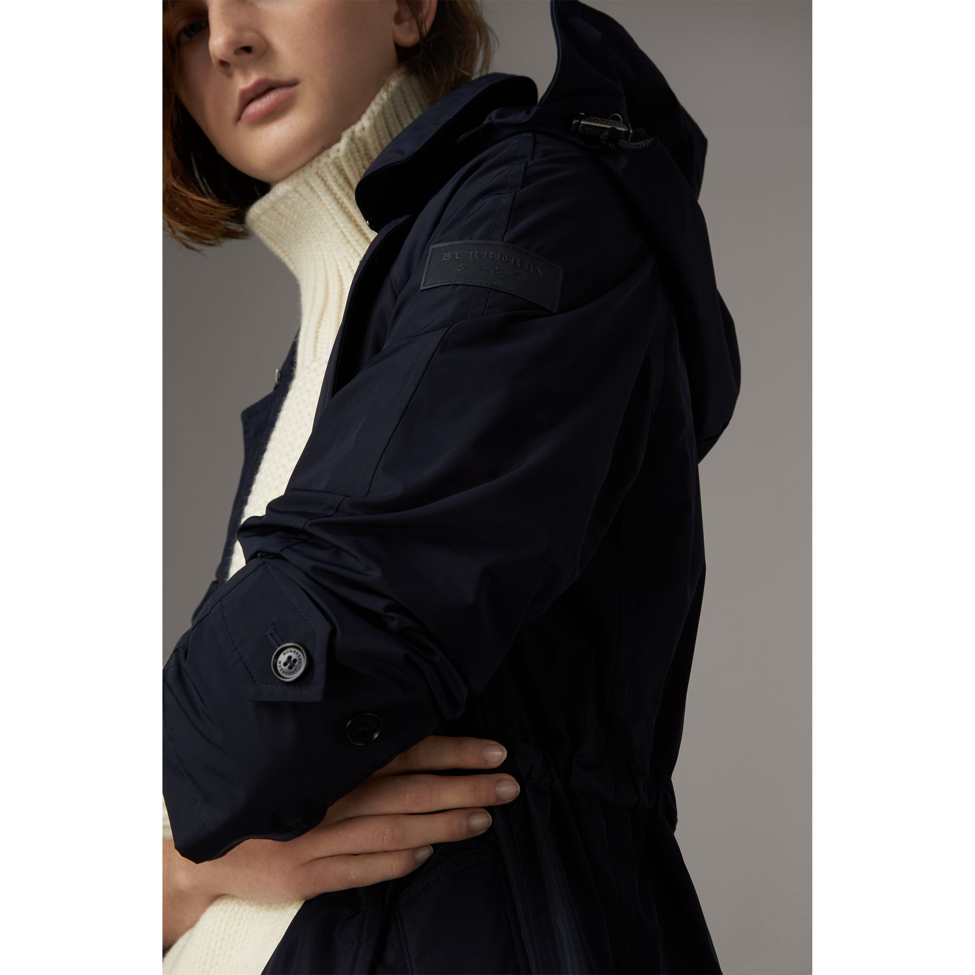 Detachable Hood Showerproof Car Coat in Navy - Women | Burberry - gallery image 2