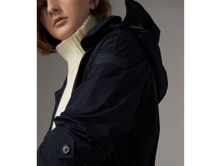 Detachable Hood Showerproof Car Coat in Navy - Women | Burberry - cell image 1