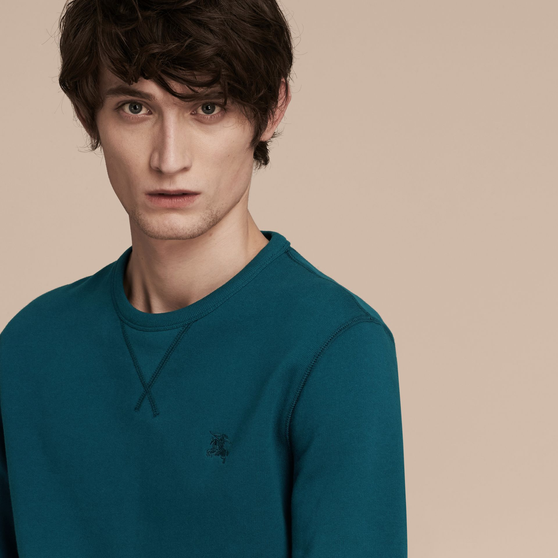 Mineral blue Cotton Blend Jersey Sweatshirt - gallery image 5