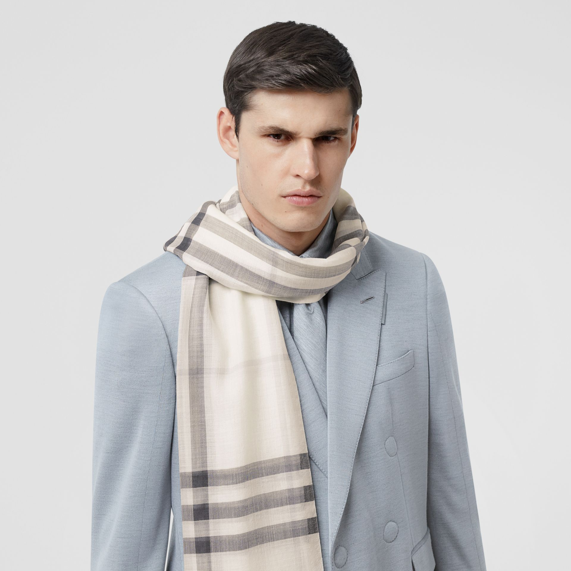 Lightweight Check Wool Silk Scarf in White/light Grey | Burberry - gallery image 3