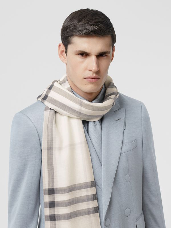 Lightweight Check Wool Silk Scarf in White/light Grey | Burberry - cell image 3