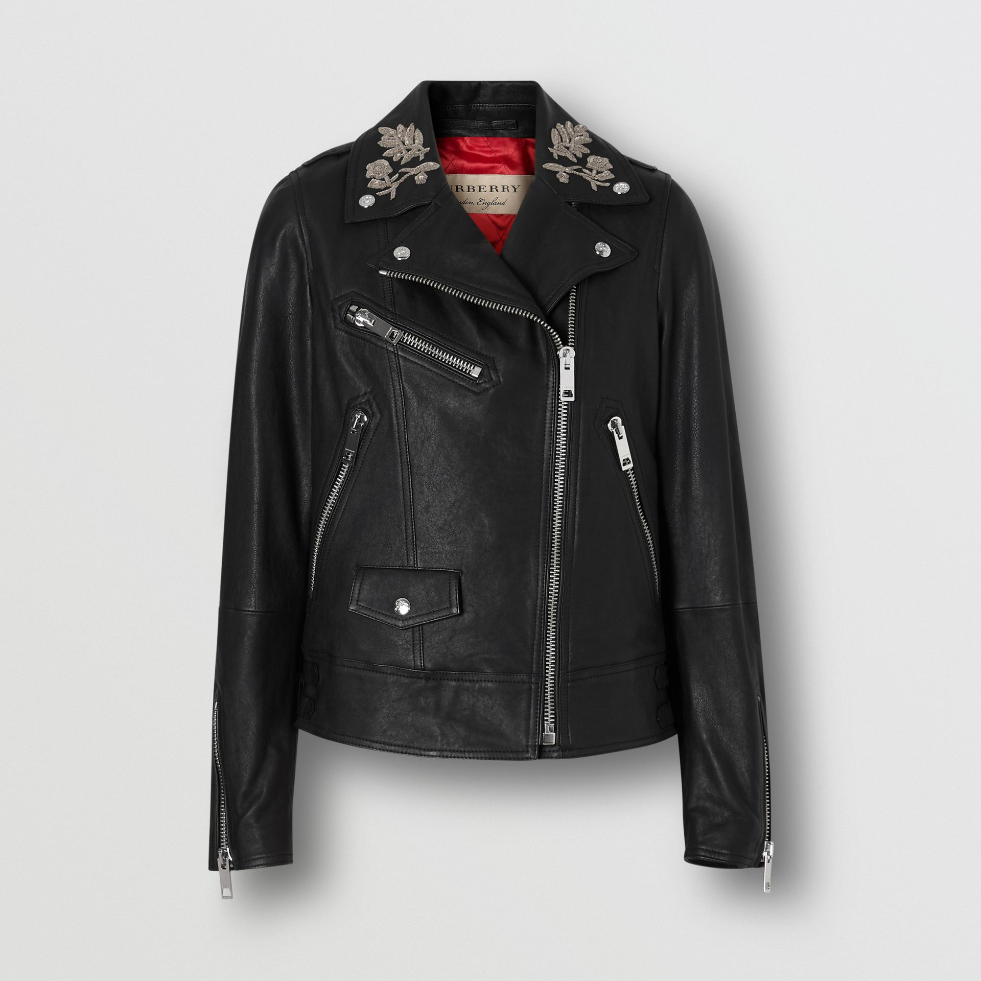 Bullion Floral Lambskin Biker Jacket in Black - Women | Burberry - gallery image 3